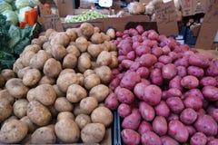 Potatos. Two different potatos in the market Stock Photo