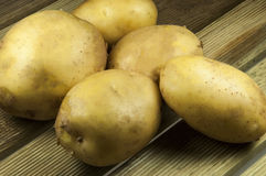 Potatos on wood place. Raw potatos on wood place Royalty Free Stock Photo