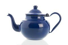 Pote azul del té del ename Imagen de archivo