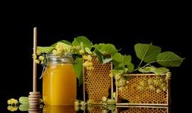 Pote con la miel, marco de madera con el panal aislado en negro Imagen de archivo libre de regalías