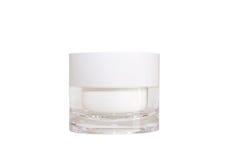 Pote cosmético blanco en blanco Fotografía de archivo libre de regalías