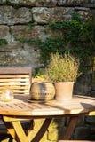 Pote de arcilla con las hierbas en la tabla de madera Fotografía de archivo libre de regalías