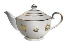 Pote de cerámica realista del té del vector con el ornamento del copo de nieve ilustración del vector