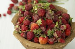 Pote de cerámica viejo por completo de fresas y de arcilla rojas frescas en lona Dieta de las frutas de la comida de Healhty Imagenes de archivo