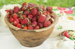 Pote de cerámica viejo por completo de fresas y de arcilla rojas frescas en lona Dieta de las frutas de la comida de Healhty Imagen de archivo