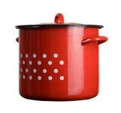 Pote de cocinar rojo tradicional grande Foto de archivo libre de regalías