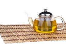 Pote de cristal del té Foto de archivo libre de regalías