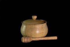 Pote de madera aislado de la miel Fotos de archivo
