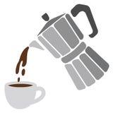 Pote de Moka y taza de café Imágenes de archivo libres de regalías