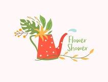 Pote de riego coloreado como amanita con las flores y el descenso del agua, plantilla del vector del logotipo de la floristería,  Imagenes de archivo