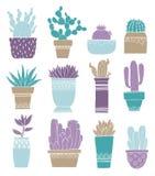 Pote del cactus de la tarjeta y suculento en estilo del bosquejo Diseño de dibujo plano del elemento Planta de la colección de la stock de ilustración