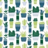 Pote del cactus del modelo y suculento inconsútiles en estilo del bosquejo Diseño de dibujo plano del elemento Planta de la colec ilustración del vector
