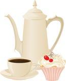Pote del offee del ¡de Ð, taza de café y una torta Imagenes de archivo