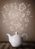 Pote del té con los accesorios dibujados mano de la cocina Fotografía de archivo