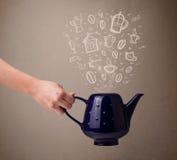 Pote del té con los accesorios dibujados mano de la cocina Imagenes de archivo