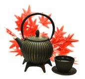 Pote del té del metal con la taza y las hojas de arce Foto de archivo