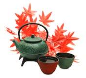Pote del té verde con la taza y las hojas de arce Fotos de archivo