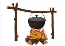 Pote en un fuego Imagenes de archivo