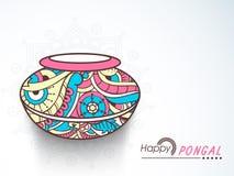 Pote floral del fango para la celebración feliz de Pongal Foto de archivo libre de regalías