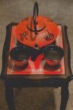 Pote japonés del té con las tazas Fotografía de archivo