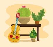Pote suculento de M?xico y del cactus stock de ilustración
