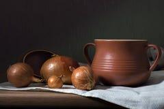 Pote y cebollas de arcilla Foto de archivo libre de regalías