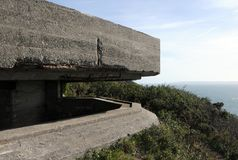 Poteau d'observation allemand au-dessus de compartiment de Moulin Huet Photos libres de droits
