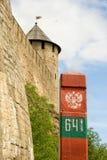 Poteau de borne : La Russie - l'Estonie photo stock