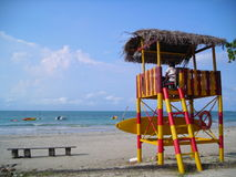 Poteau de dispositif protecteur de durée à la plage Images libres de droits