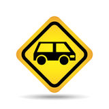 Poteau de signalisation concept icon van car Photos stock