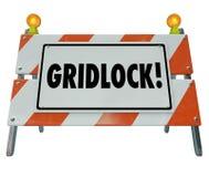 Poteau de signalisation d'avertissement de barricade de barrière de route d'embouteillage Illustration Stock