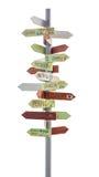 Poteau de signalisation de voyage Images stock