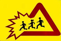 Poteau de signalisation - enfants Images libres de droits