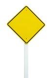 Poteau de signalisation jaune blanc d'isolement Photo stock