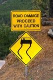 Poteau de signalisation jaune de danger image stock