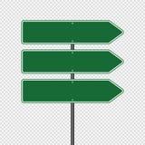 poteau de signalisation de vert de symbole, signes de panneau de route d'isolement sur le fond transparent Écran protecteur illustration stock