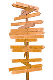 Poteau de signe blanc en bois Images libres de droits