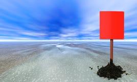 Poteau de signe blanc rouge Photo libre de droits