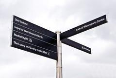 Poteau de signe de ville de medias Image libre de droits