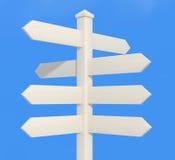 Poteau de signe directionnel blanc Images libres de droits