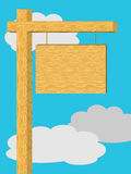 Poteau de signe en bois en bois vide illustration stock