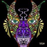 Poteau de totem Dirigez l'image dans le style d'art abstrait, fait d'une façon légèrement psychédélique Photos stock