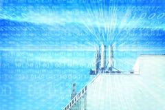 Poteau de tour de communications, le réseau de transmission photographie stock libre de droits