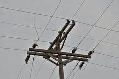 Poteau en bois d'entreprise d'électricité avec des transformateurs et des câbles image stock