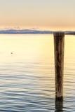 Poteau en bois dans le lac photos stock