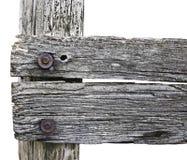 Poteau en bois de barrière dans la vue de plan rapproché photographie stock