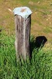 Poteau en bois utilisé pour la séance provisoire avec le chapeau en métal sur le dessus cloué avec les clous rouillés entourés av photos libres de droits