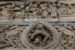 Poteau en pierre découpé de pilier et d'épaule à la place durbar de Katmandou, Népal image libre de droits