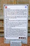 Poteau indicateur à Hazara Rama Temple dans Hampi, Inde Photo libre de droits