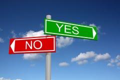 Poteau indicateur abstrait pour les réponses oui et le numéro Photos libres de droits